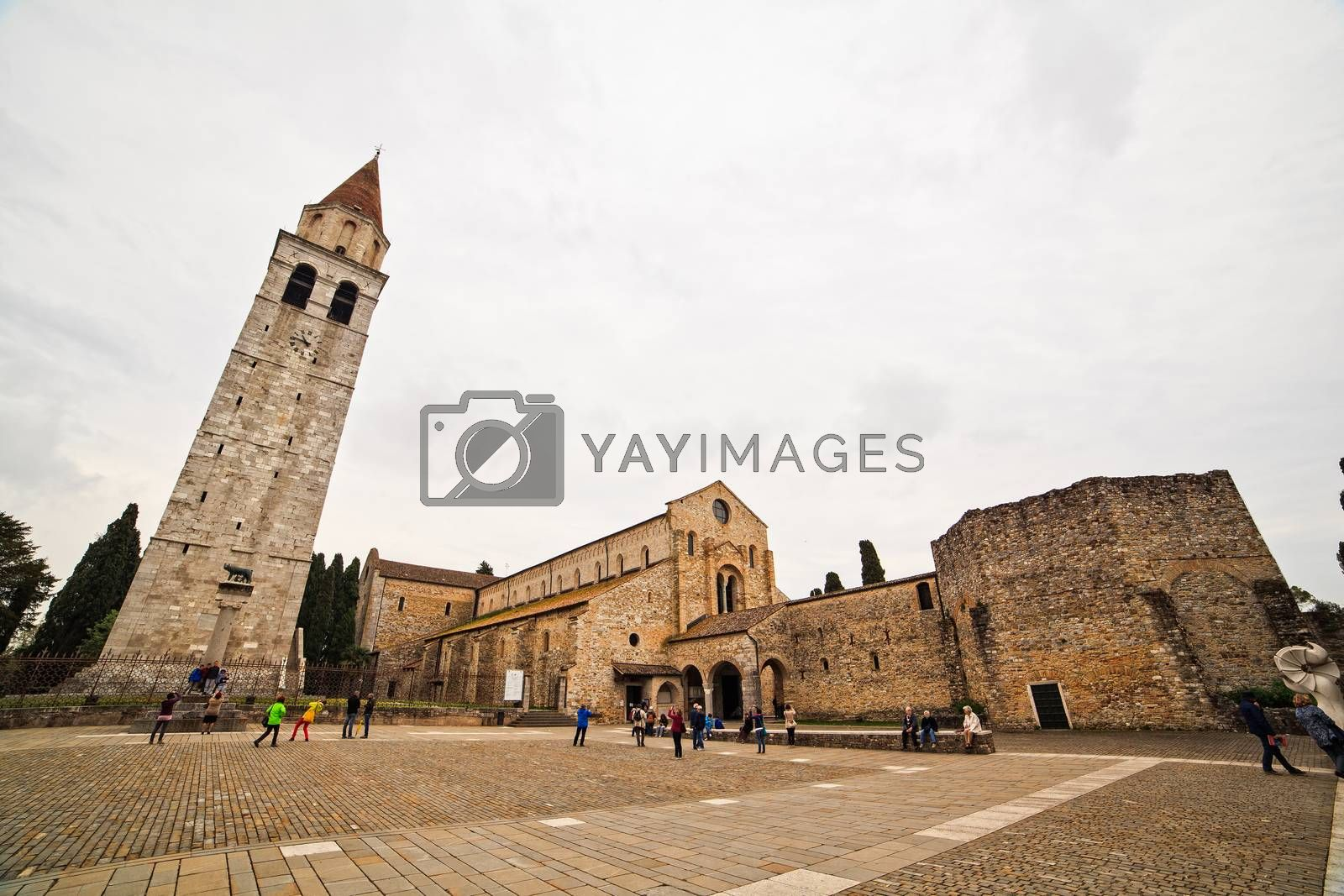 View of Basilica di Santa Maria Assunta and bell tower of Aquileia, Italy. Aquileia is UNESCO World Heritage Site