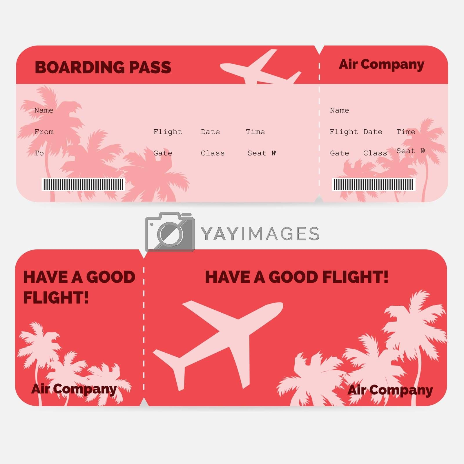 Airline boarding pass. Red ticket isolated on white background. Vector illustration