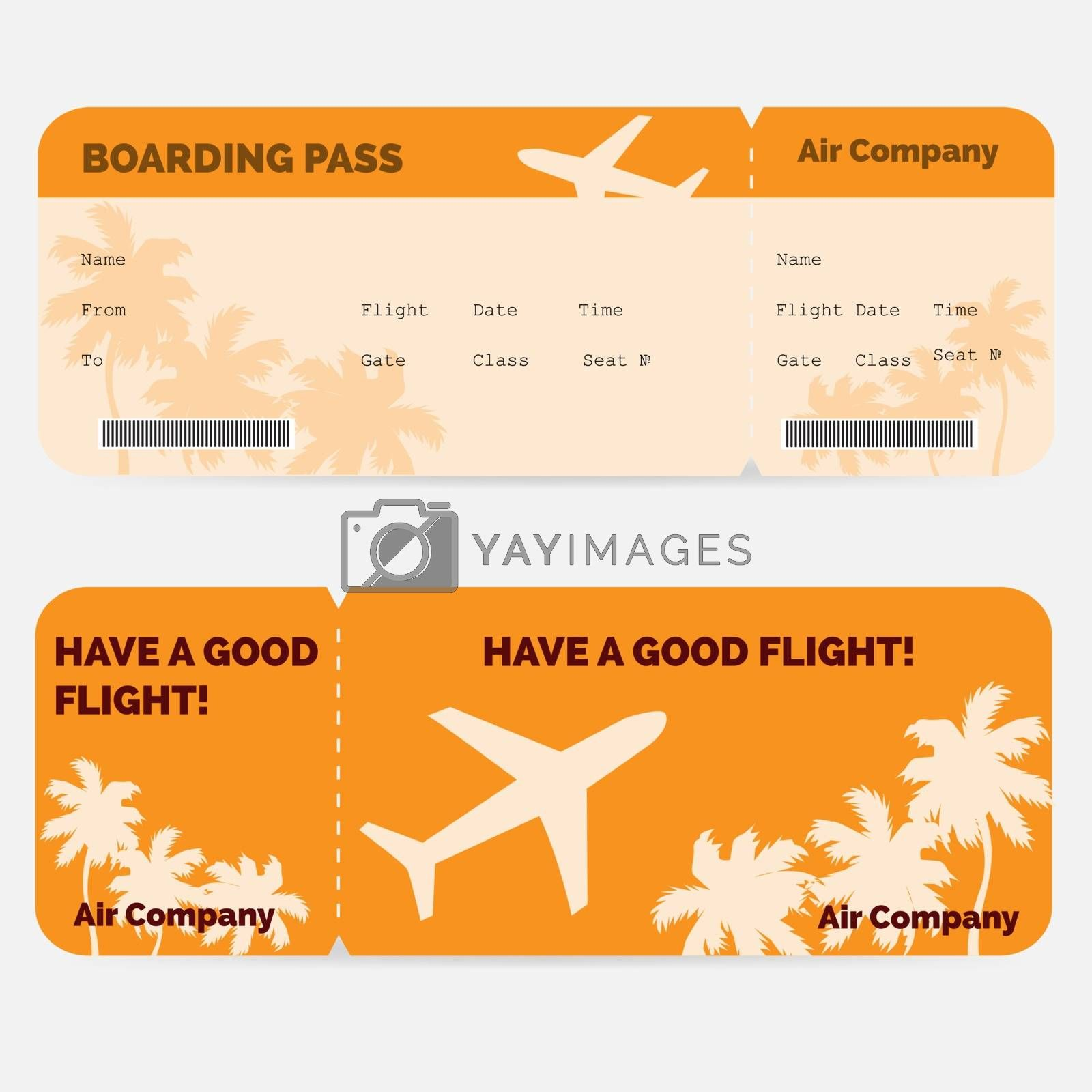 Airline boarding pass. Orange ticket isolated on white background. Vector illustration