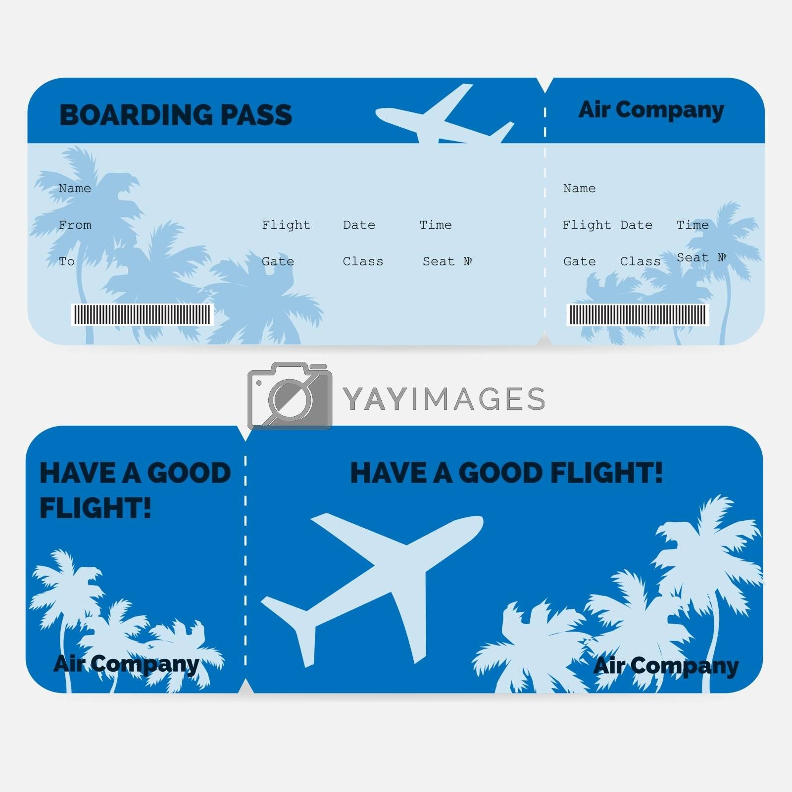 Airline boarding pass. Blue ticket isolated on white background. Vector illustration