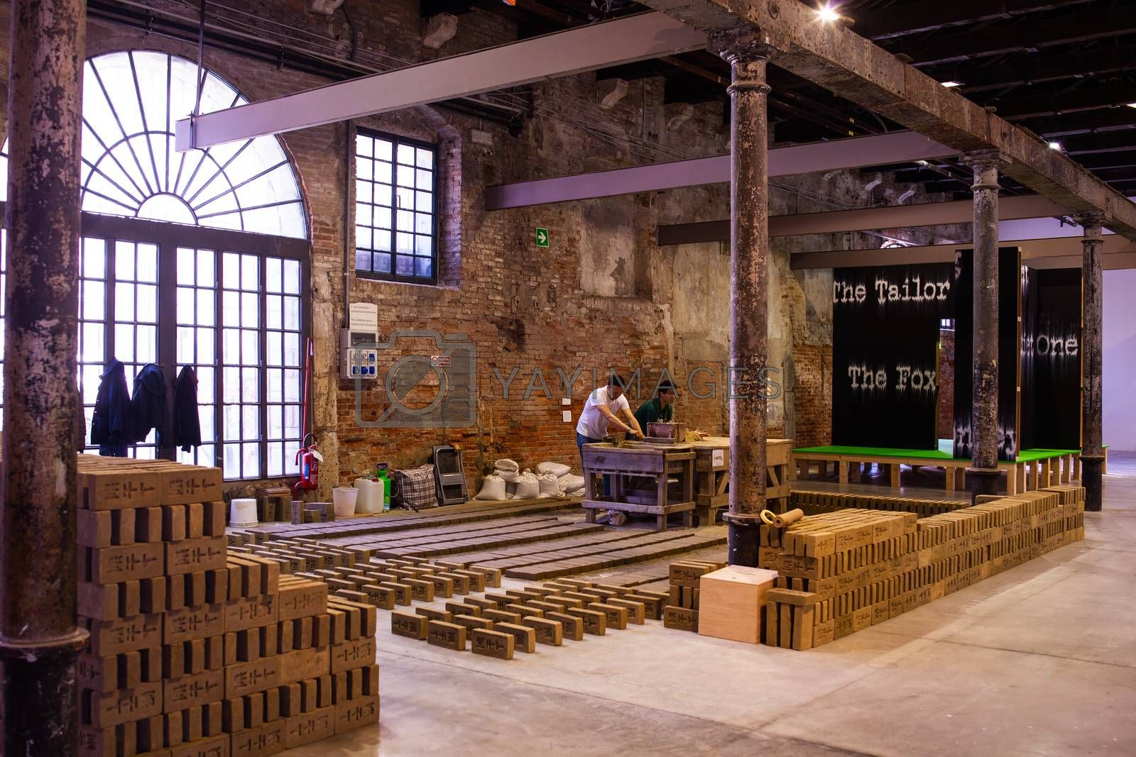 "VENICE, ITALY - MAY 06: View of Rirkrit Tiravanija installation intitled ""Untitled"" showing at Arsenale during the 56th Venice Biennale on May 06, 2015"