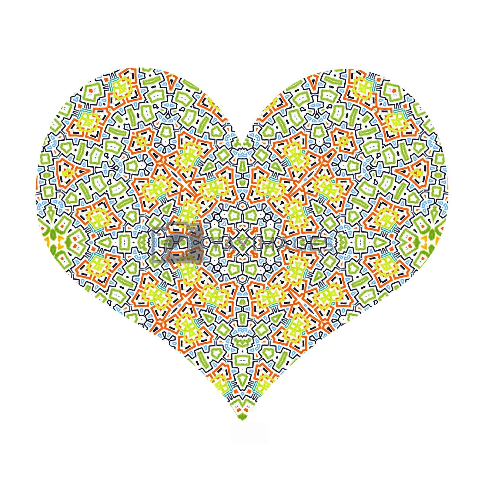 Pattern abstract heart on white background