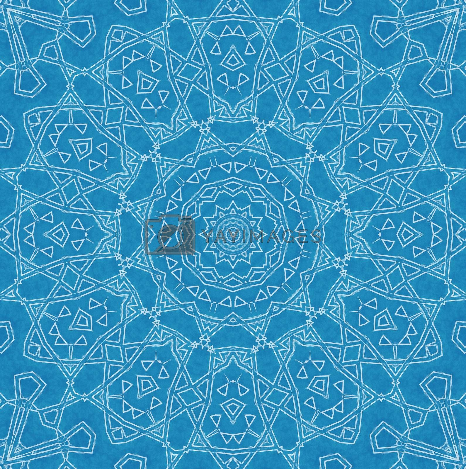 Abstract white pattern on blue background