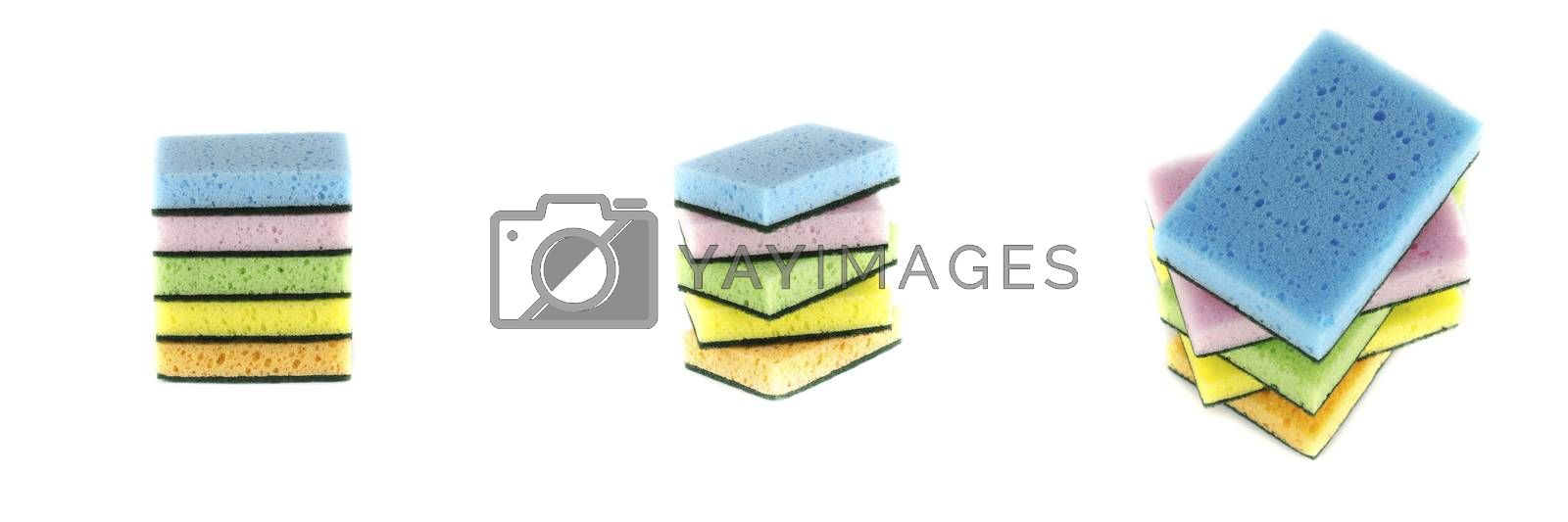 household cleaning sponge for cleaning isolated on white background