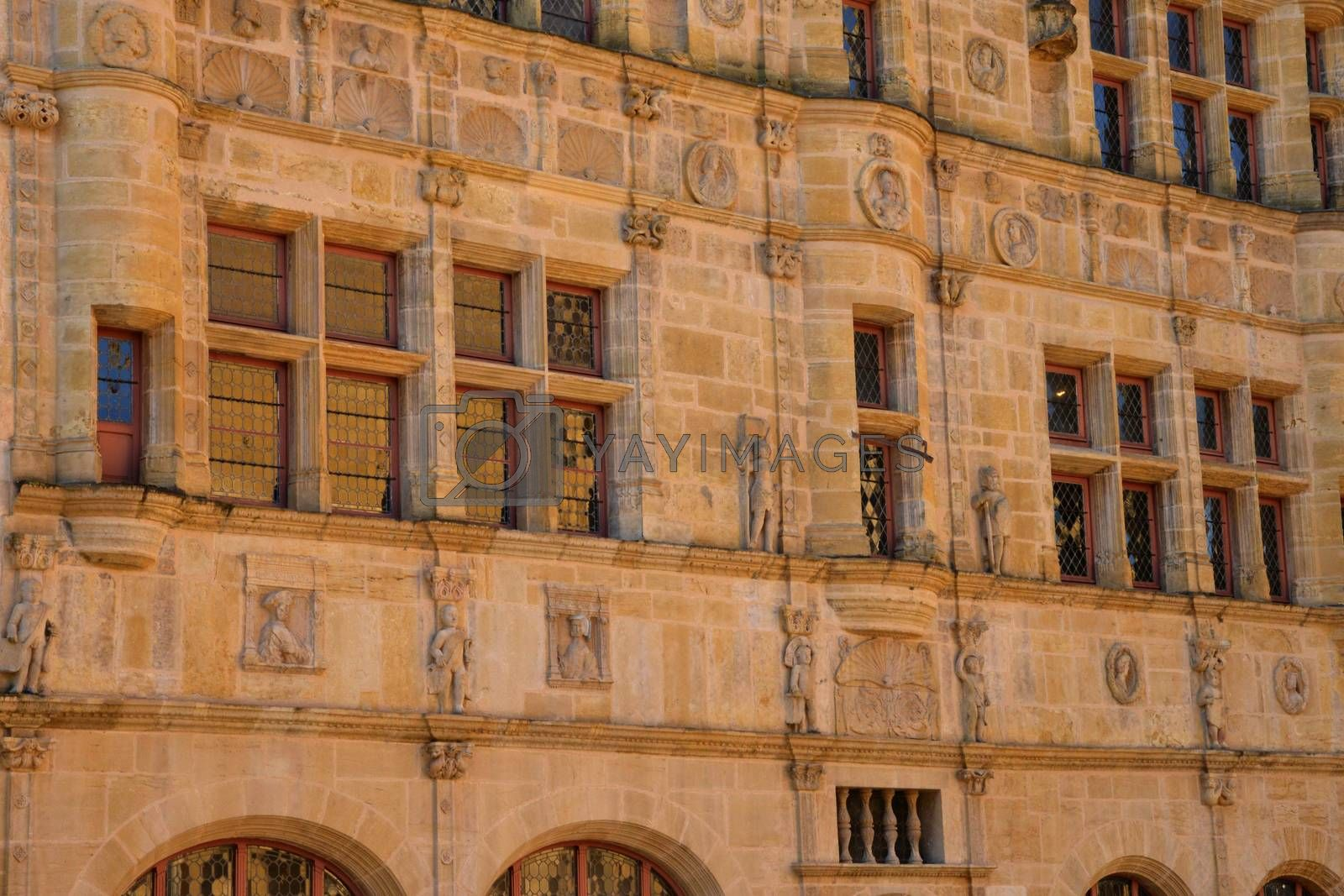 Bourgogne, the picturesque city hall of Paray le Monial