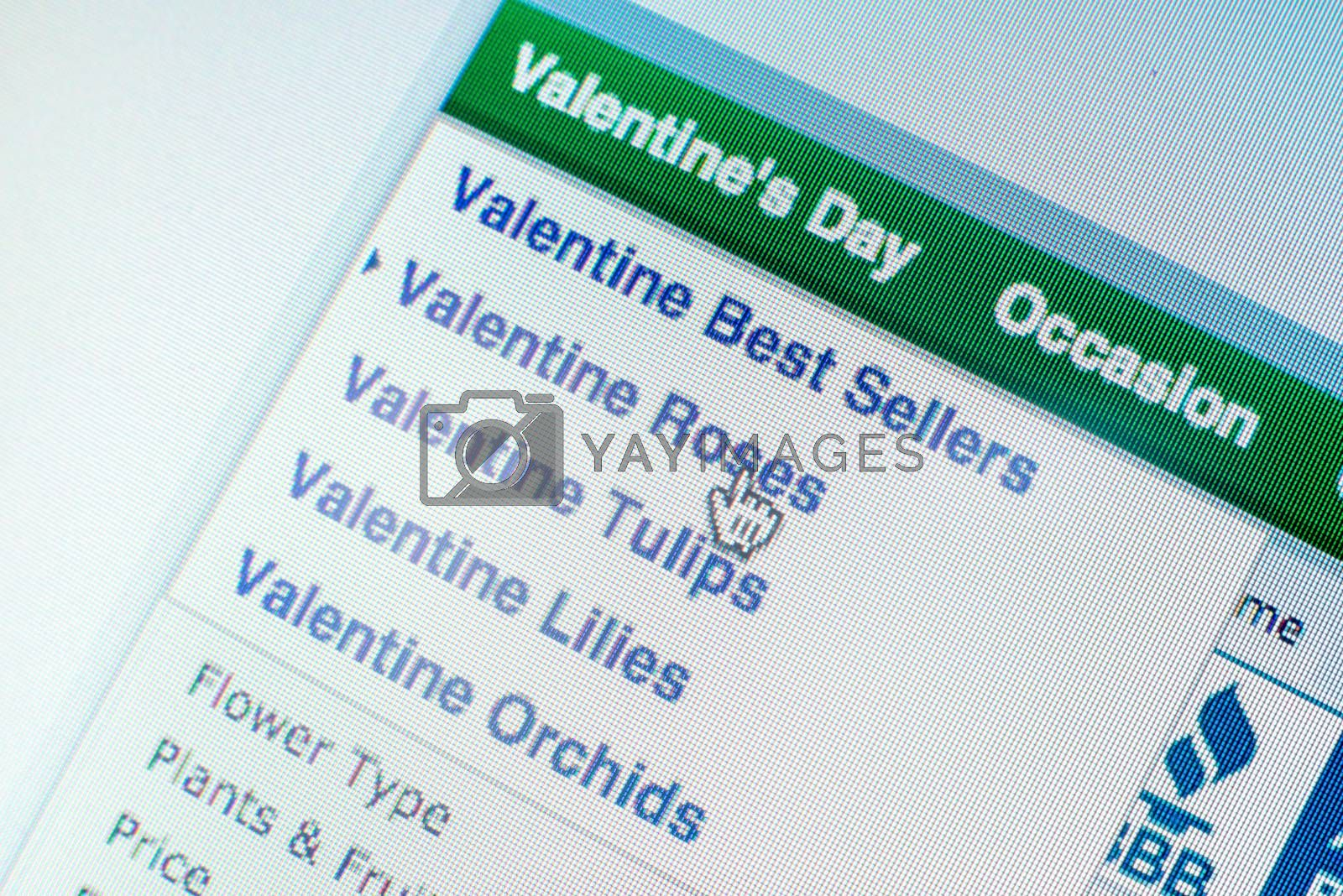 """Royalty free image of Mouse clicking """"Valentines roses"""" link on website by iamway"""