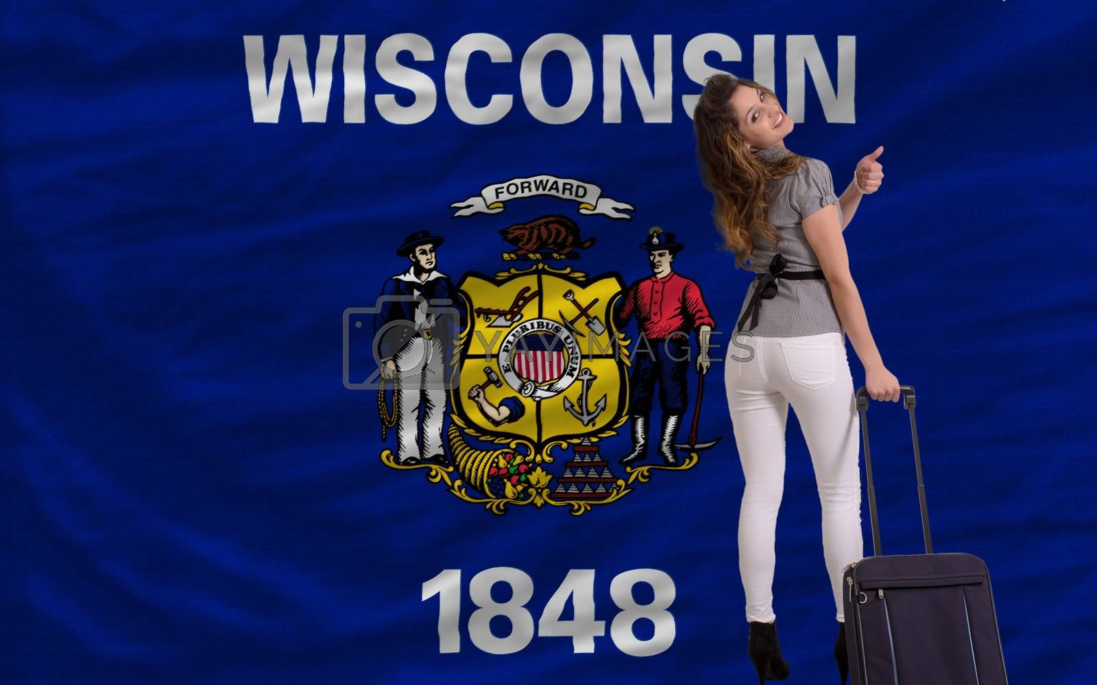 young beautiful woman is traveling to wisconsin