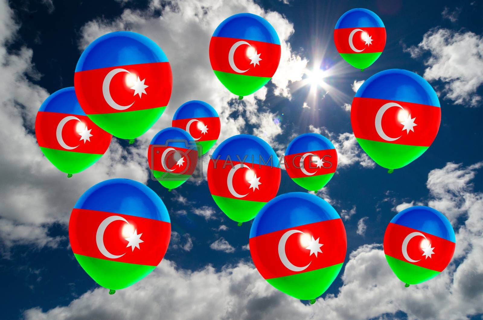many ballons in colors of azerbaijan flag flying on sky