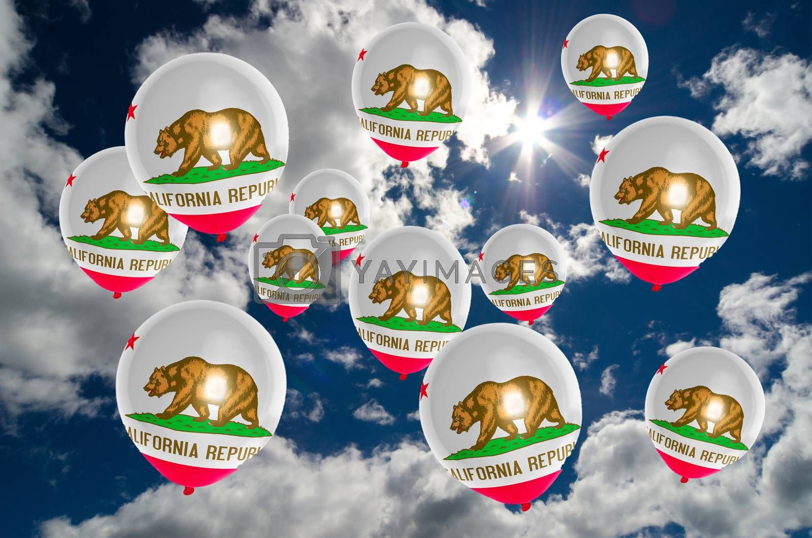 many ballons in colors of california flag flying on sky