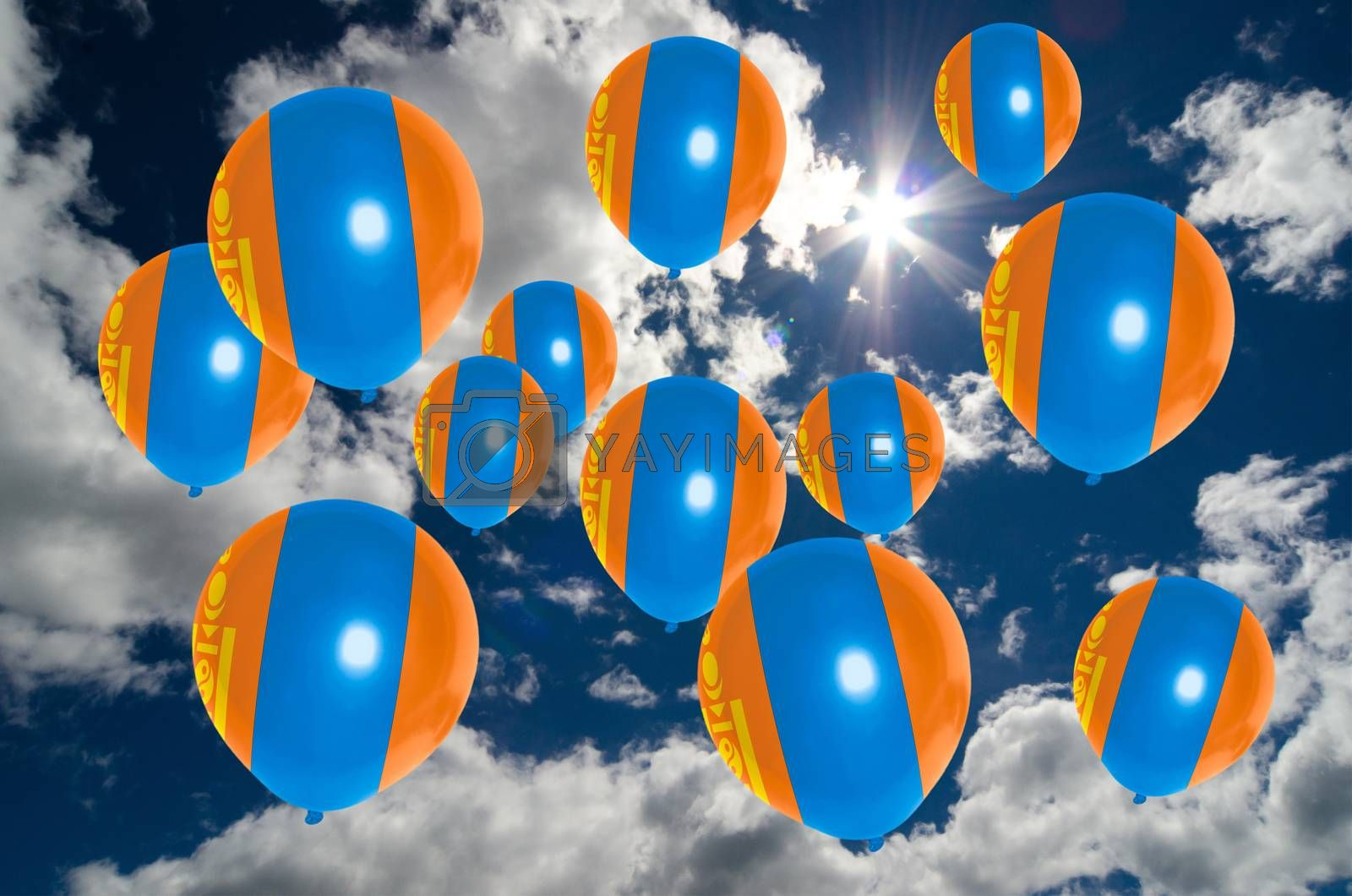 many ballons in colors of mongolia flag flying on sky