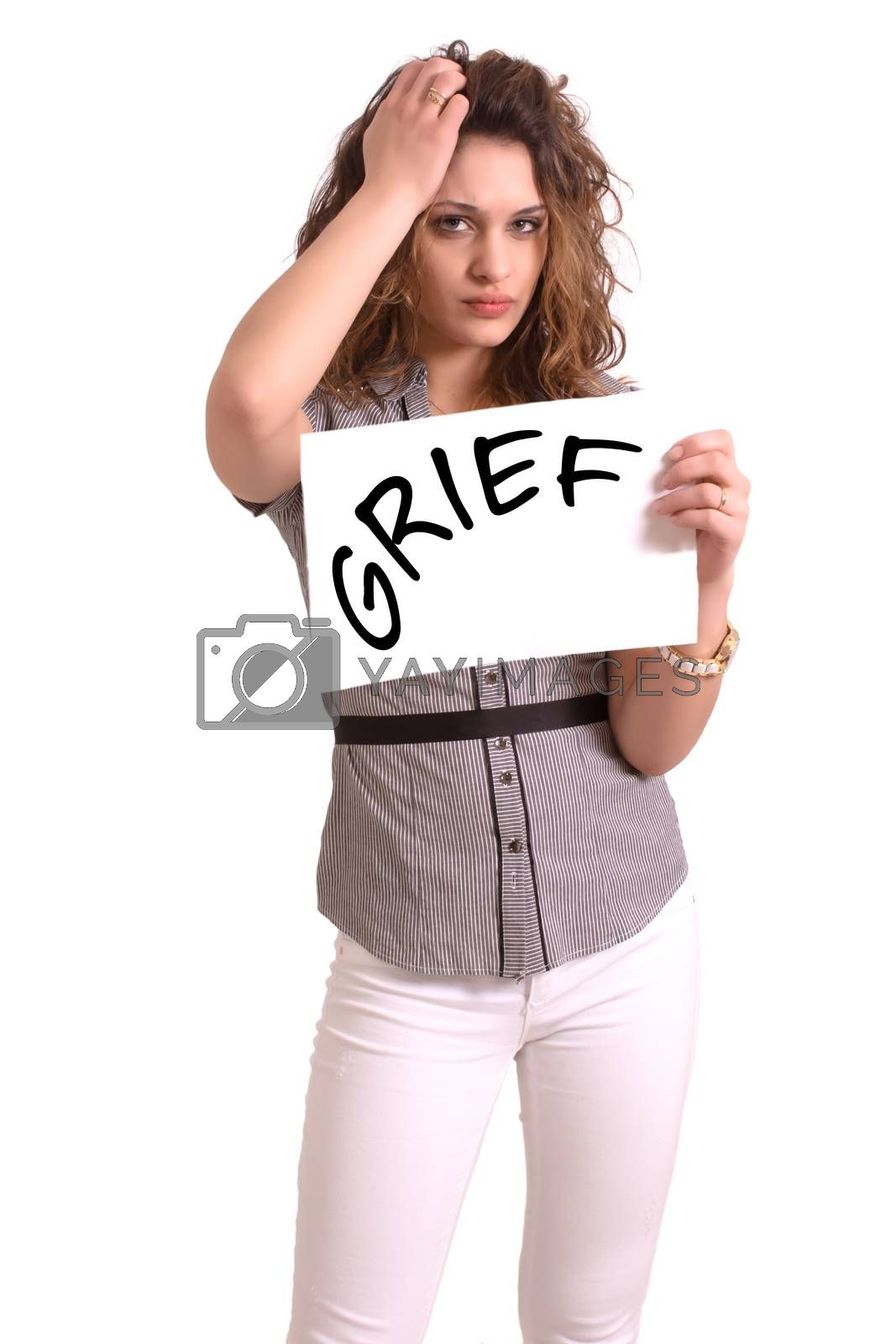 Young attractive woman holding paper with Grief text on white background