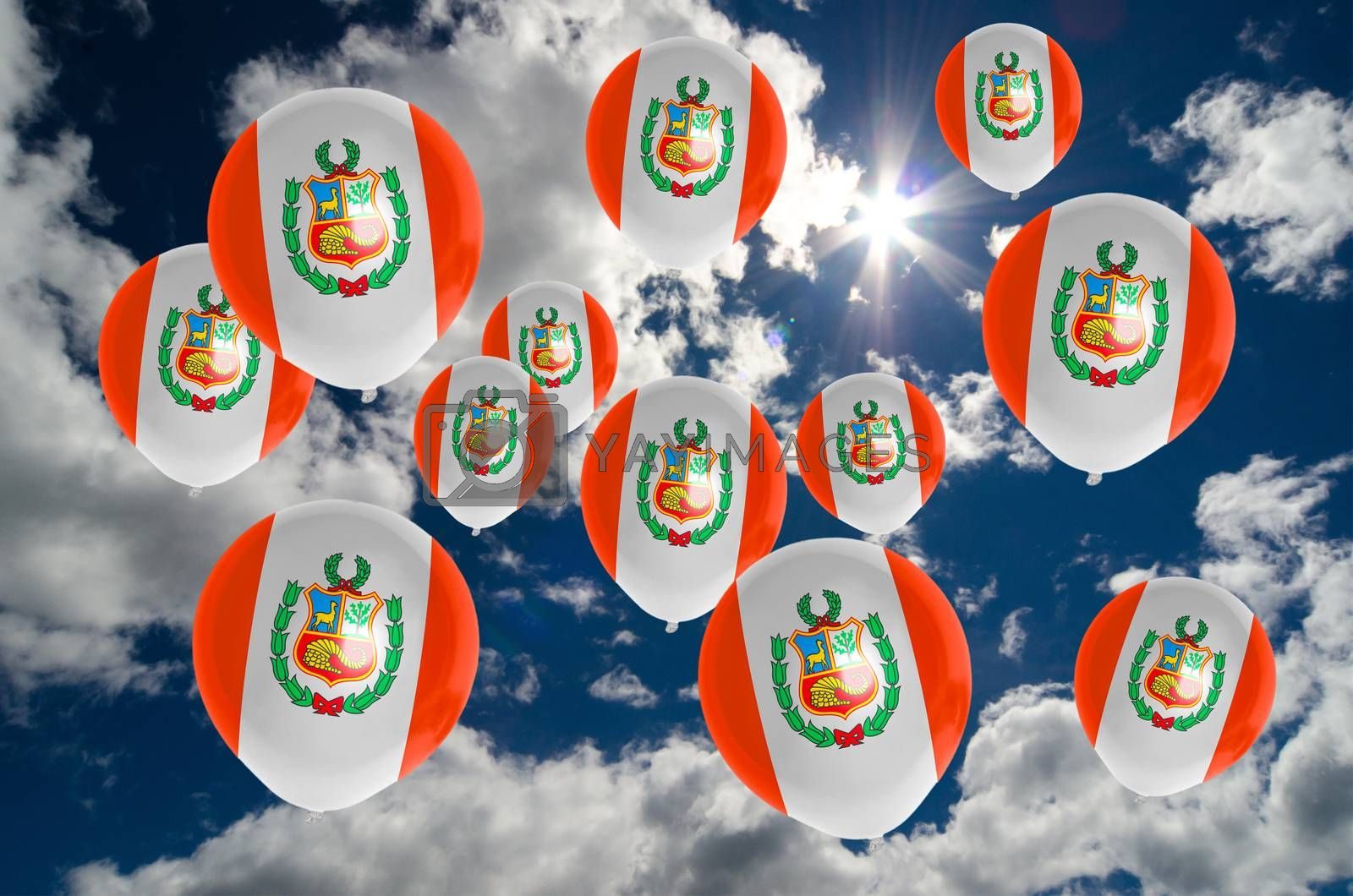 many ballons in colors of peru flag flying on sky