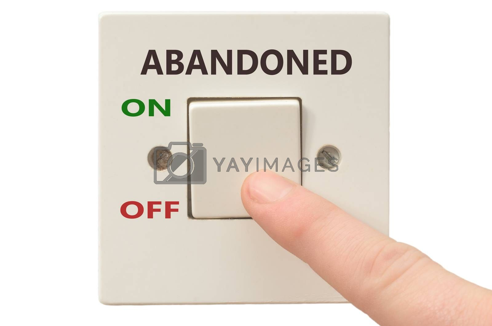 Turning off Abandoned with finger on electrical switch