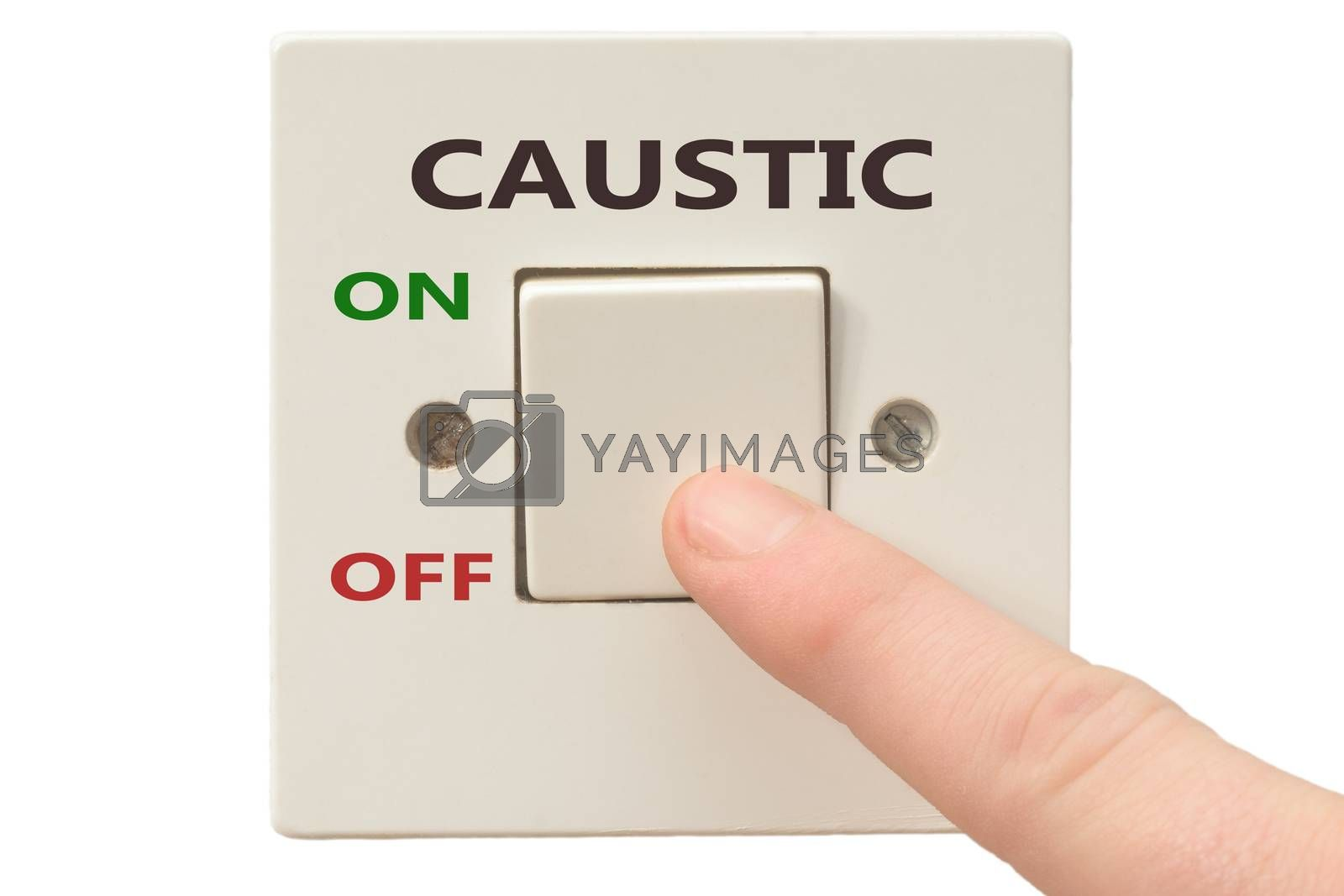 Turning off Caustic with finger on electrical switch