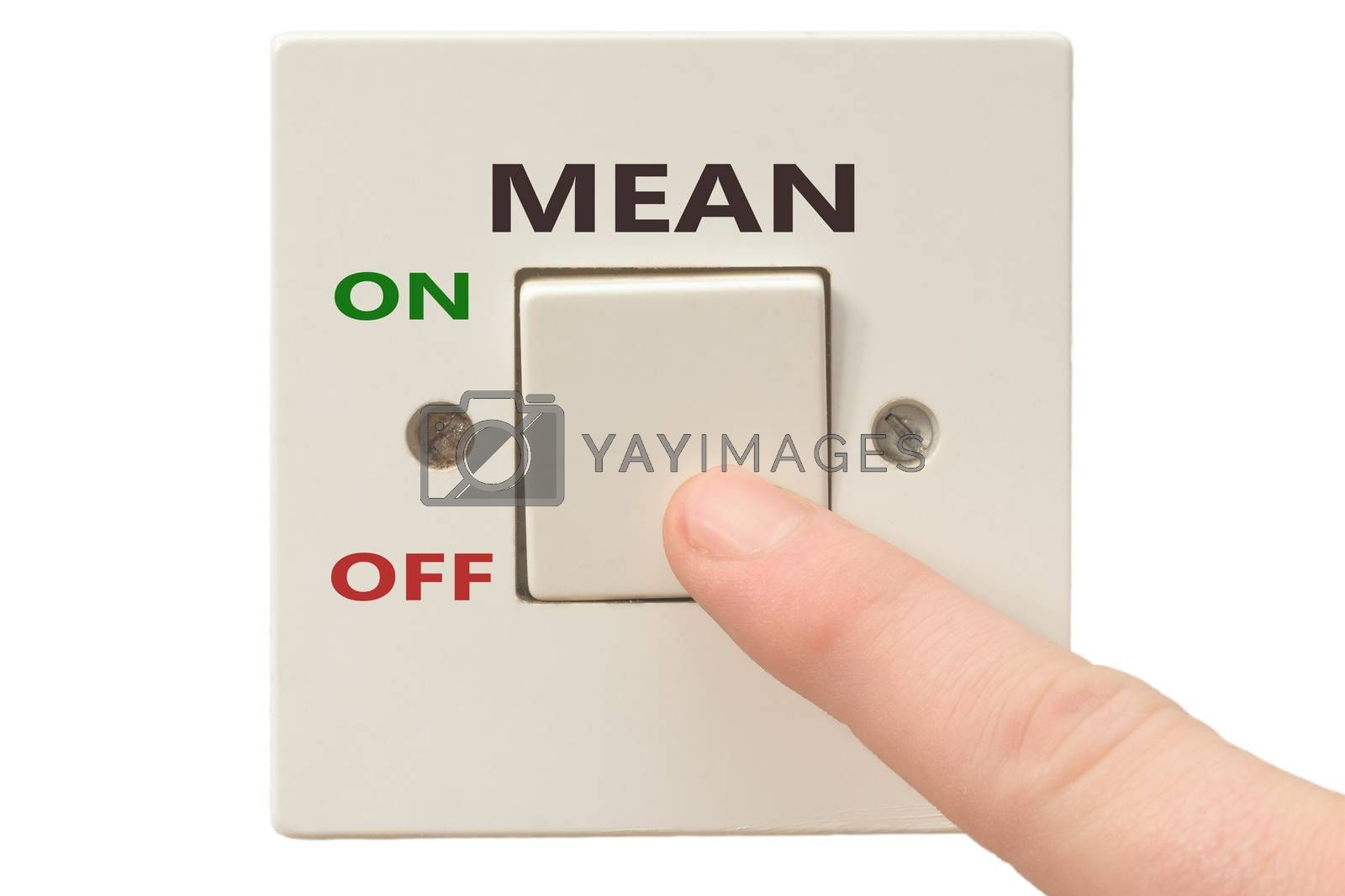 Turning off Mean with finger on electrical switch