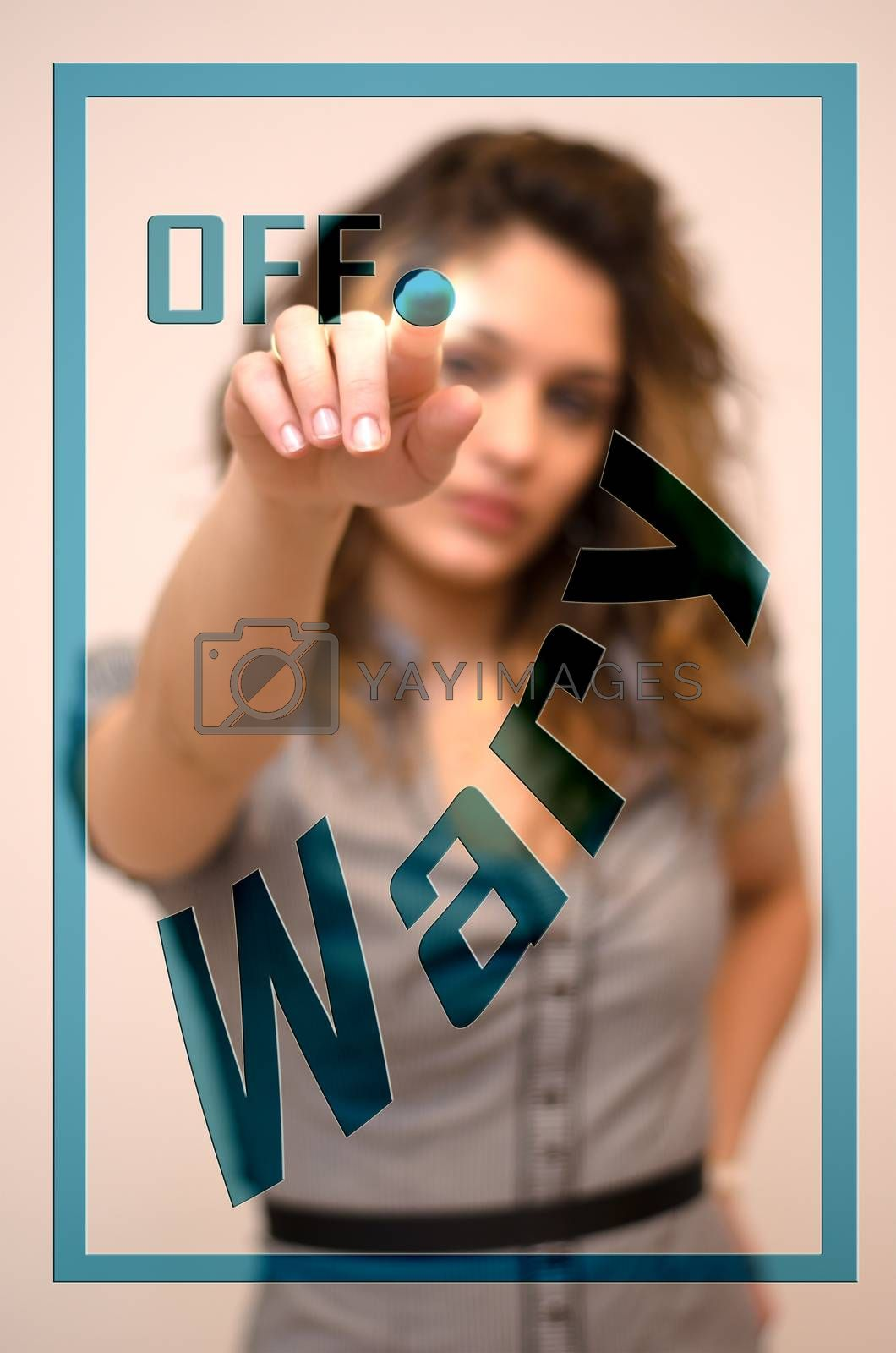 young woman turning off Wary on screen