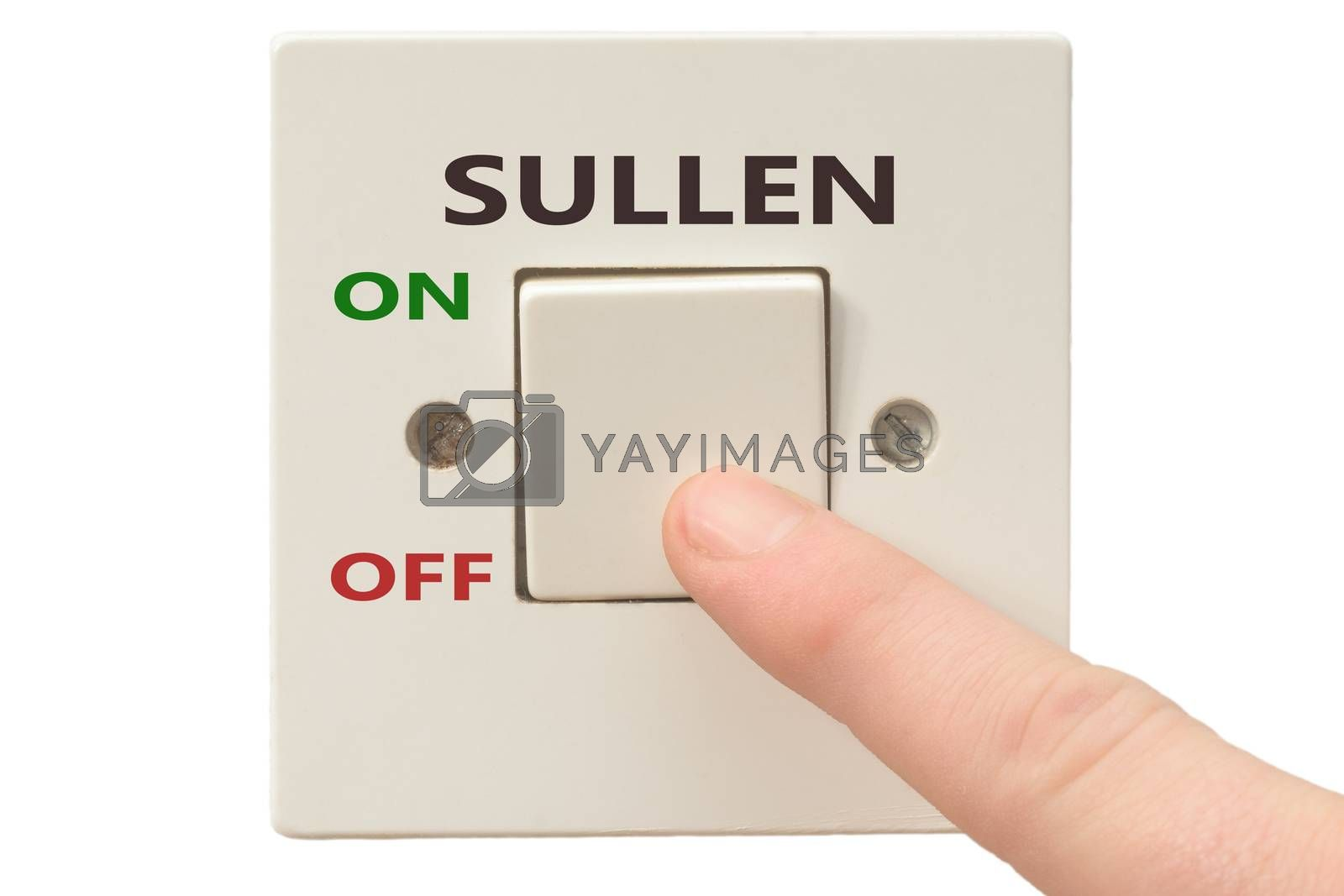 Turning off Sullen with finger on electrical switch