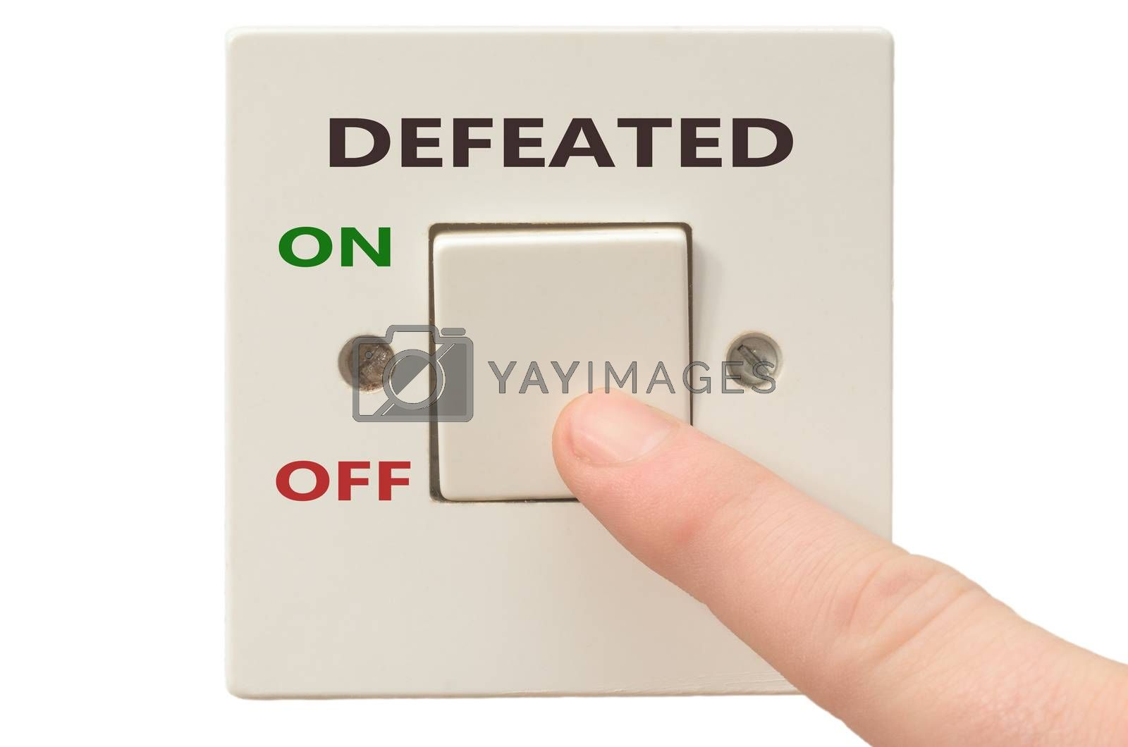 Turning off Defeated with finger on electrical switch