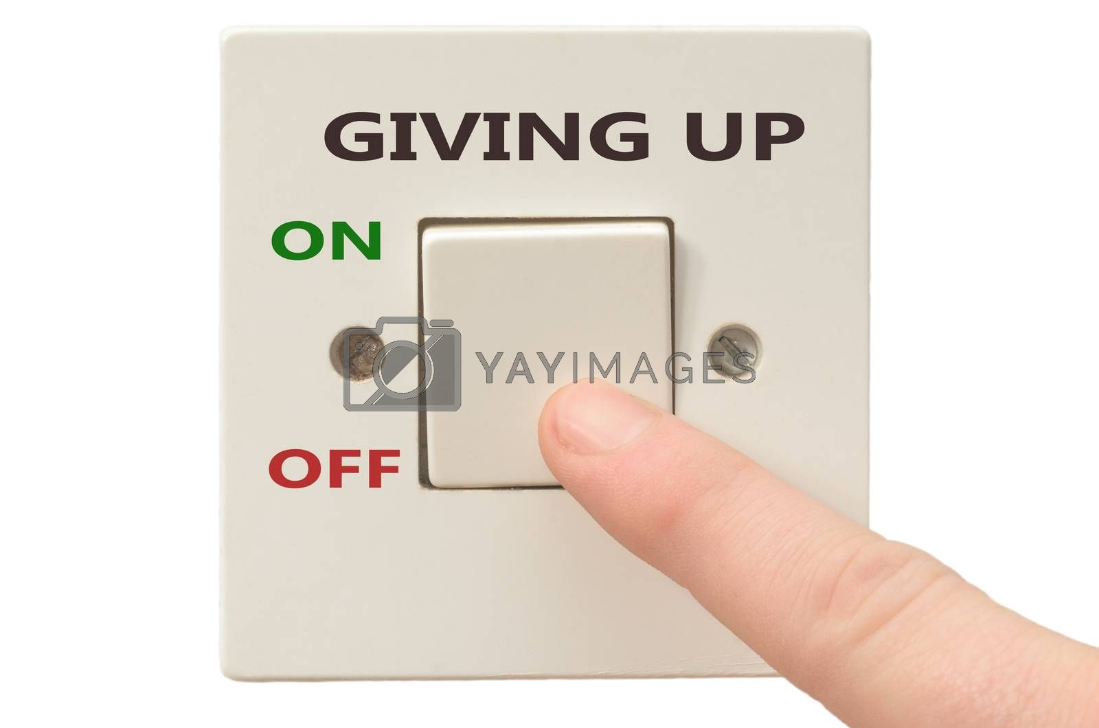 Turning off Giving up with finger on electrical switch