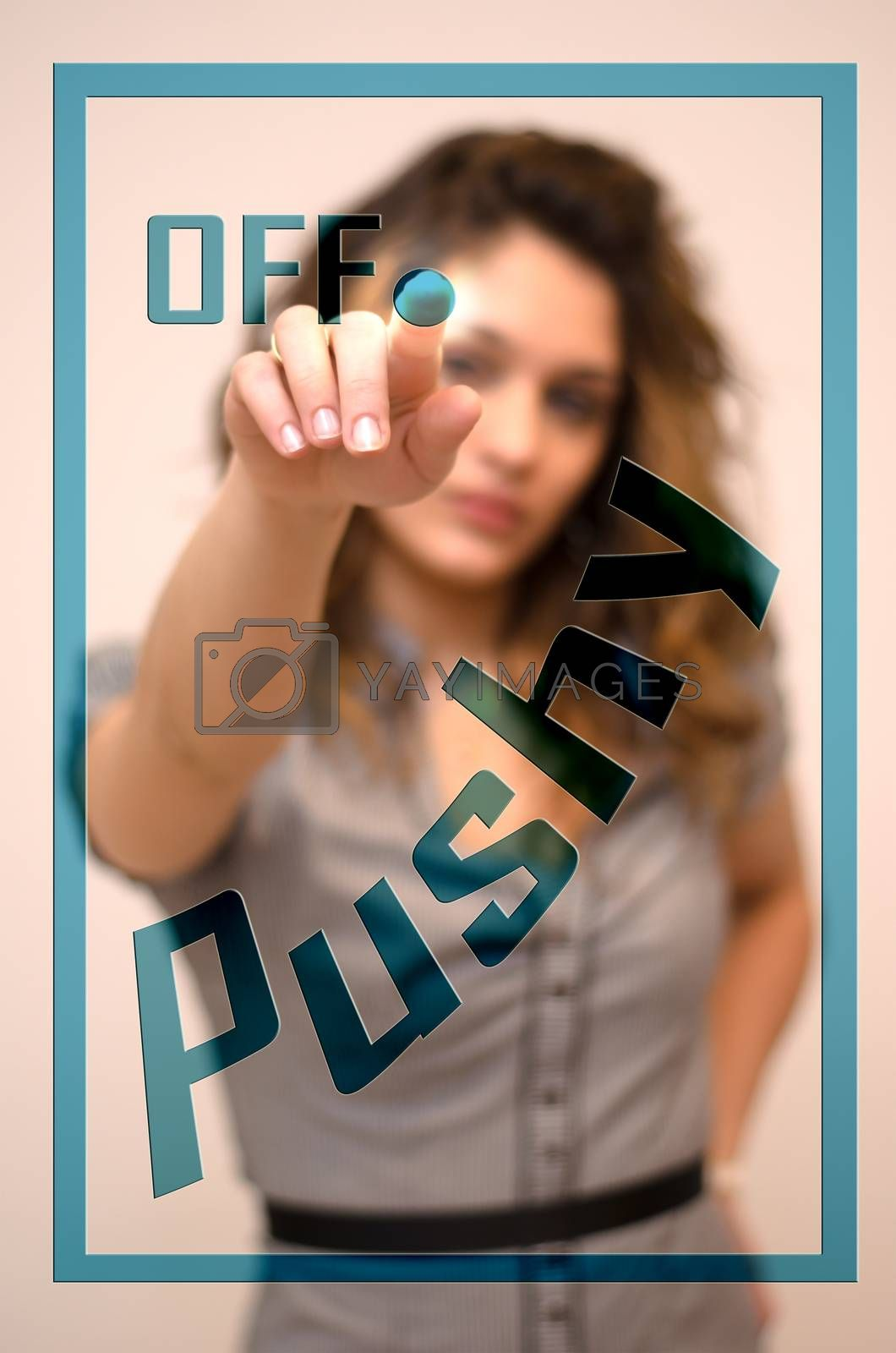 young woman turning off Pushy on screen