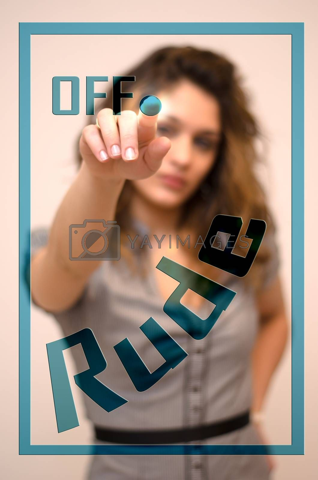 young woman turning off Rude on screen