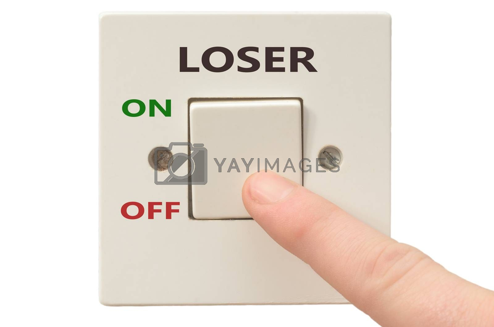 Turning off Loser with finger on electrical switch