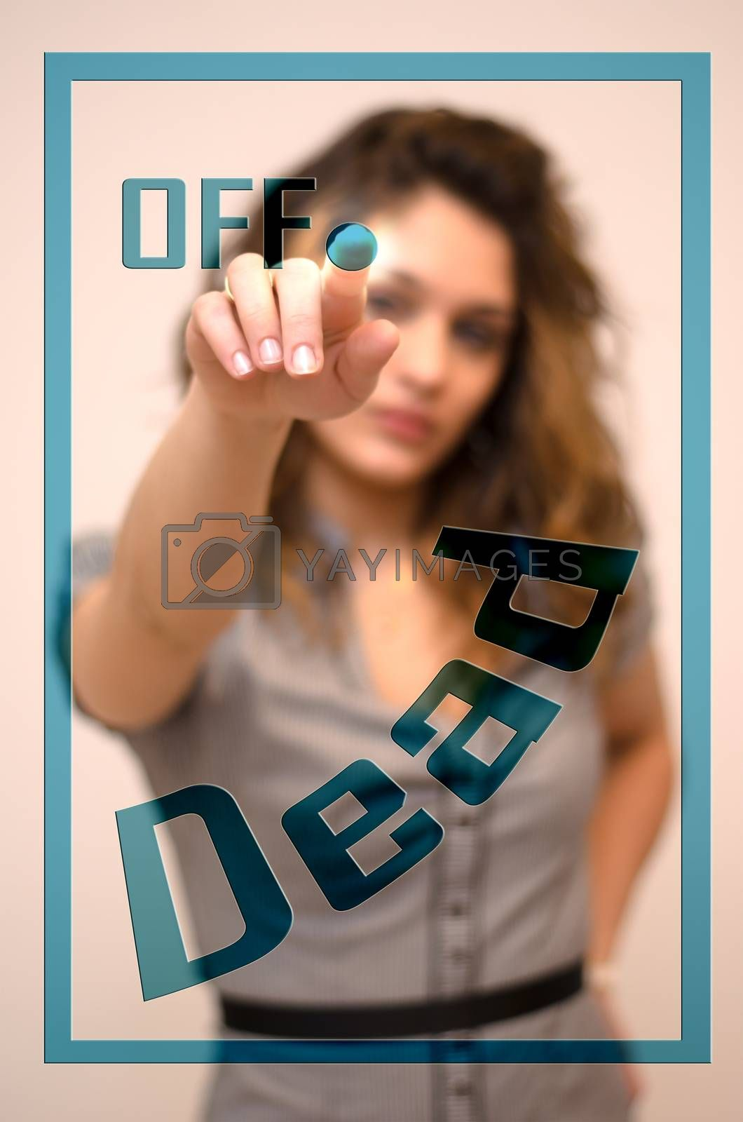 young woman turning off Dead on digital panel