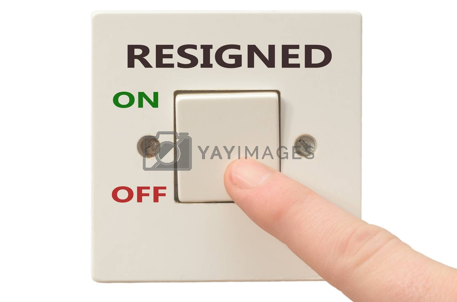 Turning off Resigned with finger on electrical switch