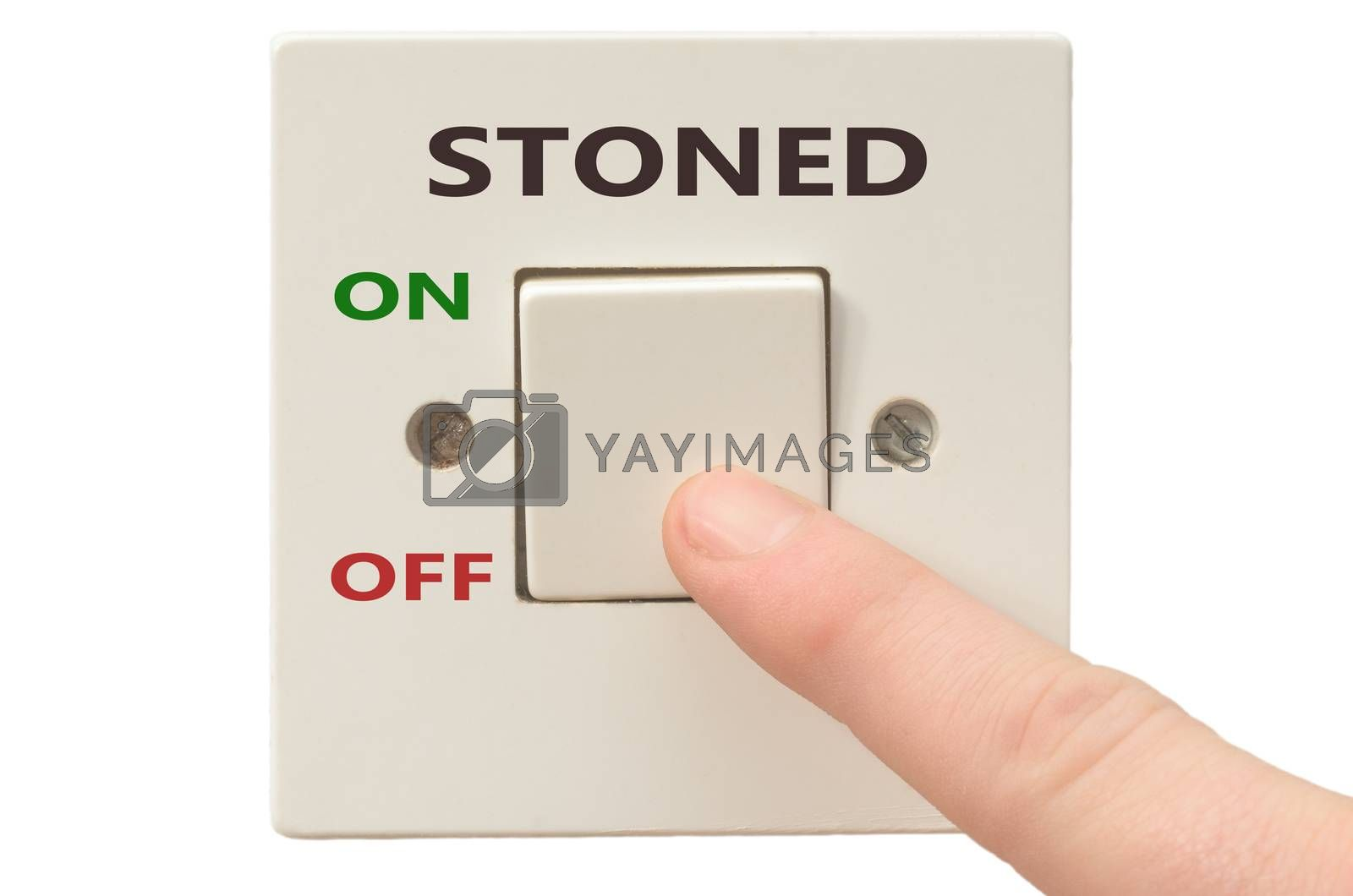 Turning off Stoned with finger on electrical switch