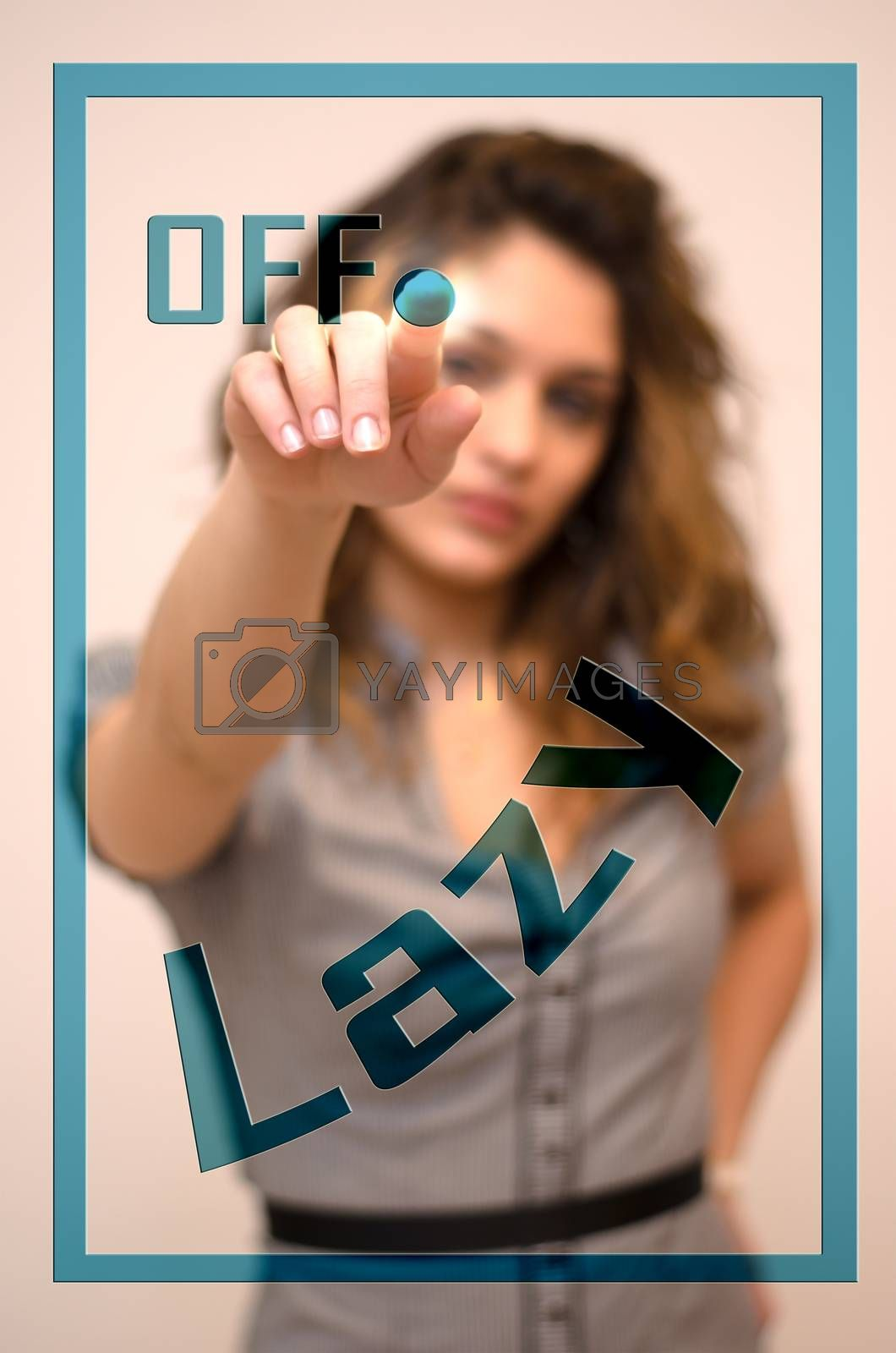young woman turning off Lazy on digital panel