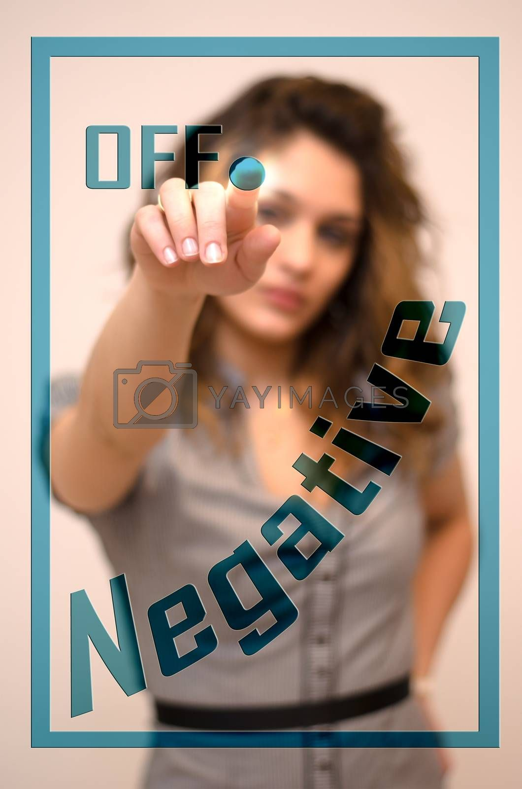 young woman turning off Negative on digital panel