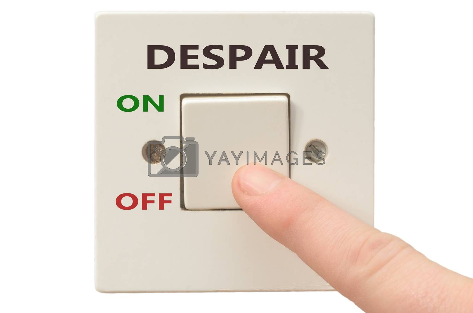 Turning off Despair with finger on electrical switch