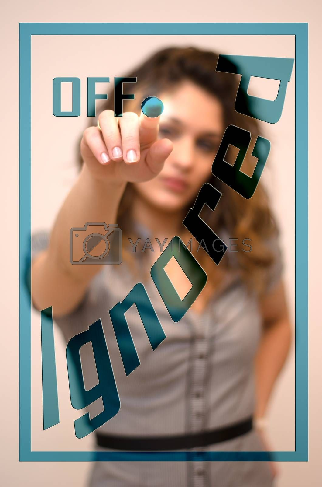 young woman turning offIgnored on hologram screen