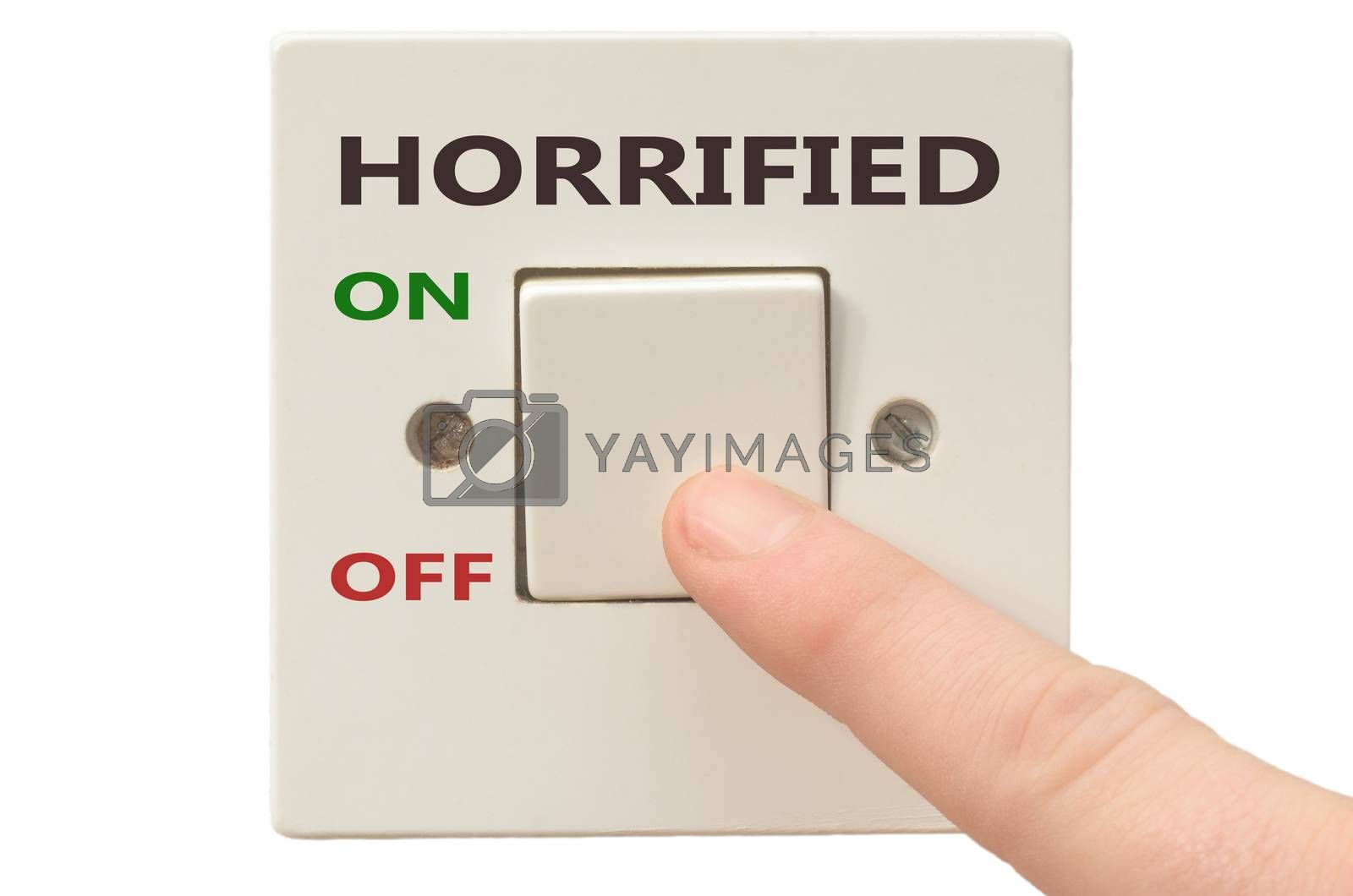 Turning off Horrified with finger on electrical switch