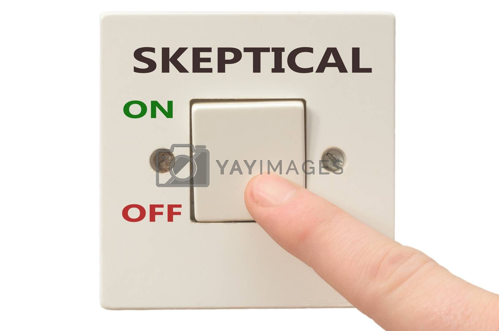 Turning off Skeptical with finger on electrical switch