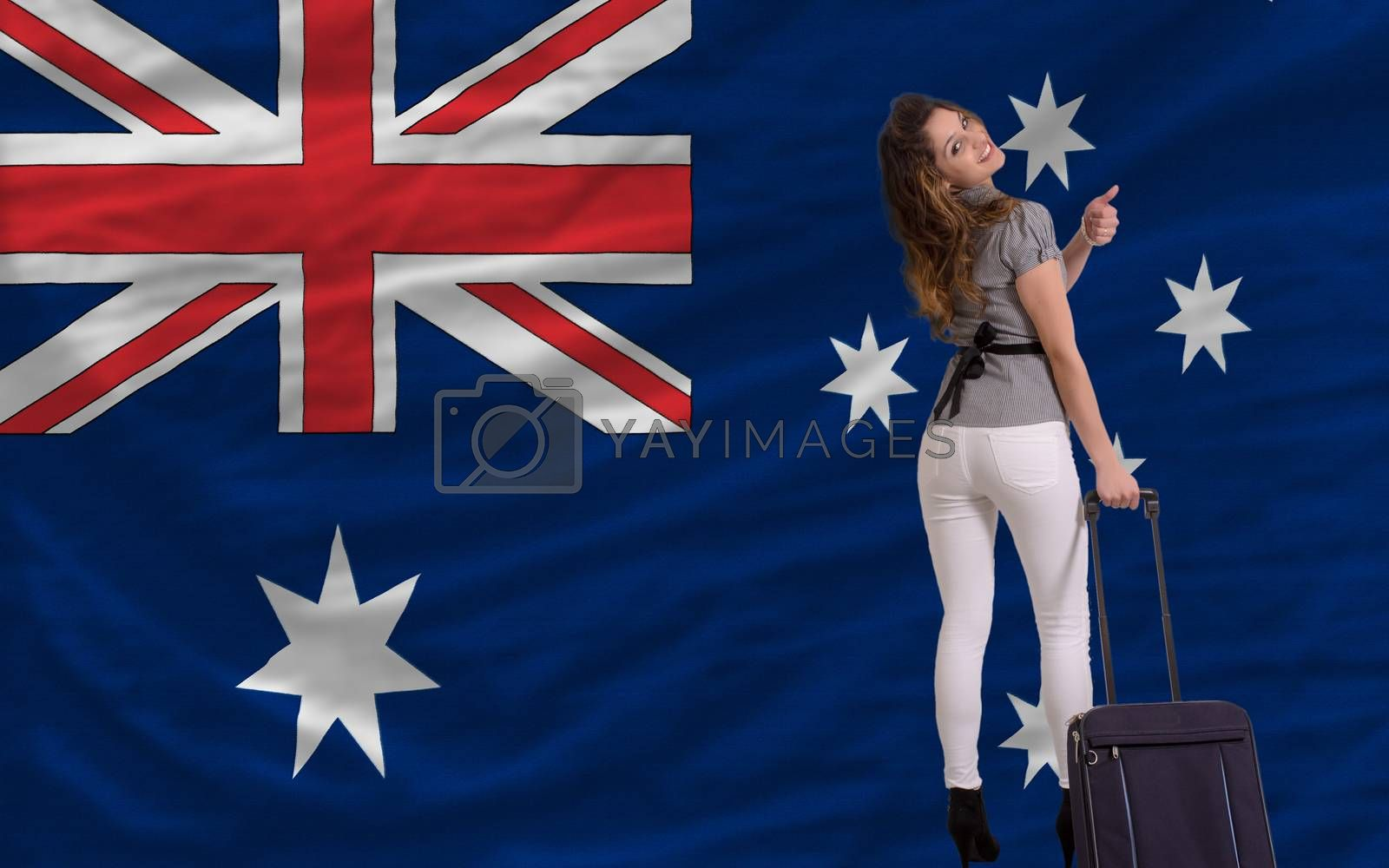 young beautiful woman is traveling to australia