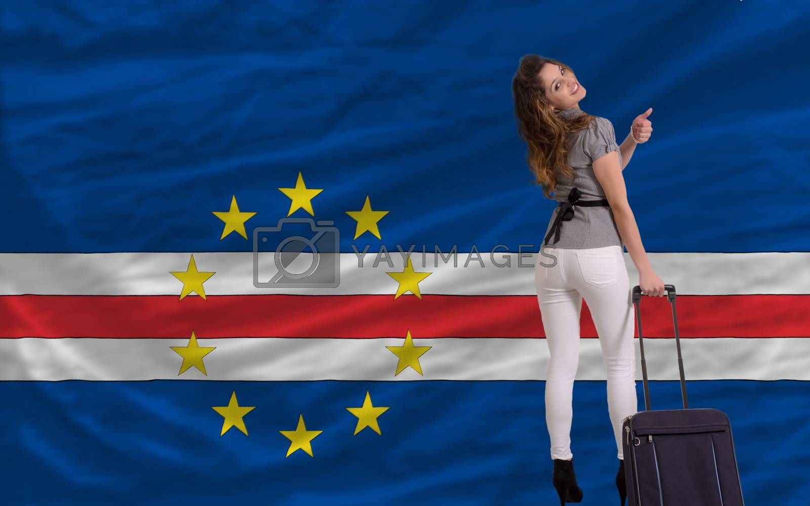 young beautiful woman is traveling to cape verde