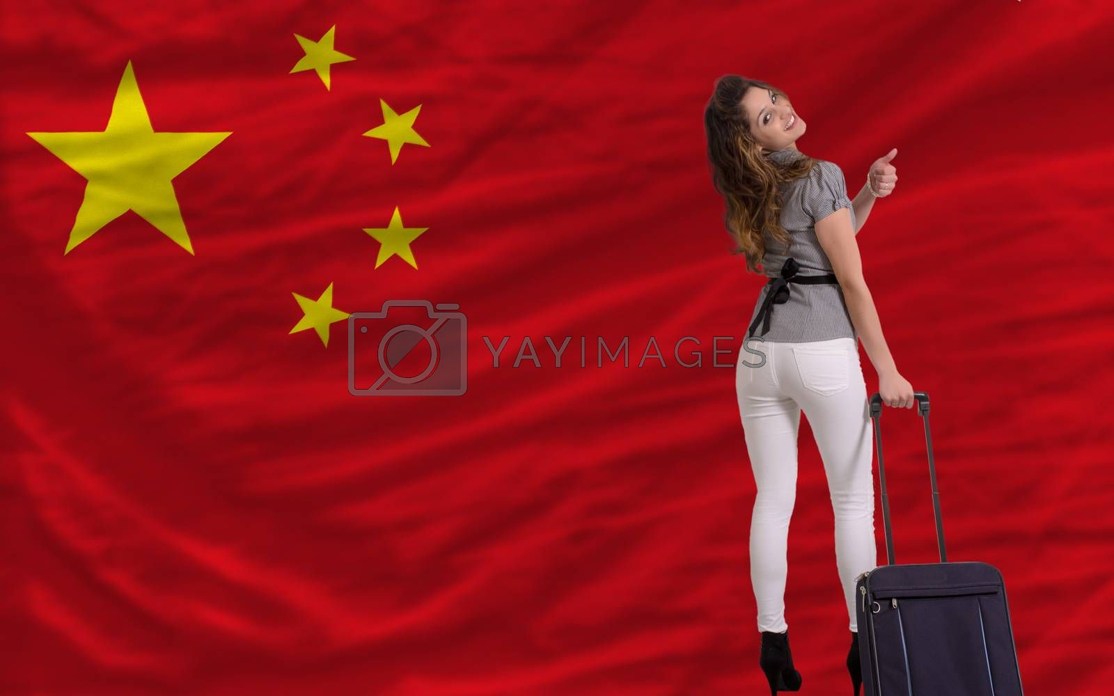 young beautiful woman is traveling to china