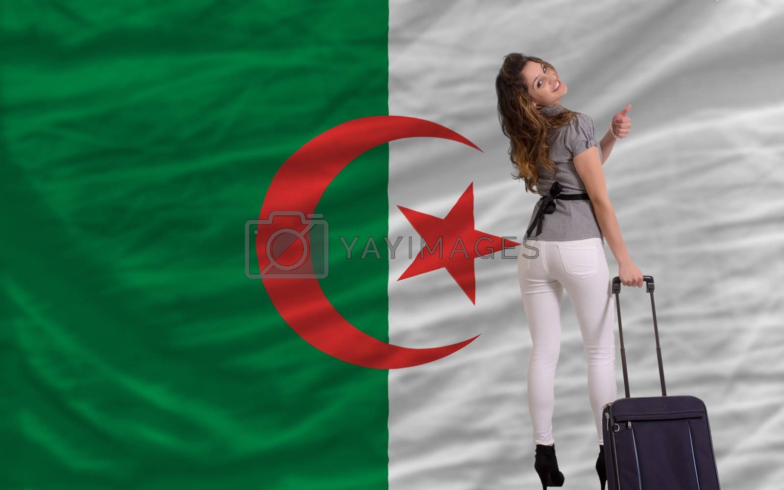 young beautiful woman is traveling to algeria