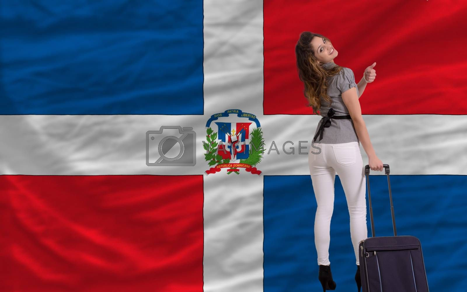 young beautiful woman is traveling to dominican