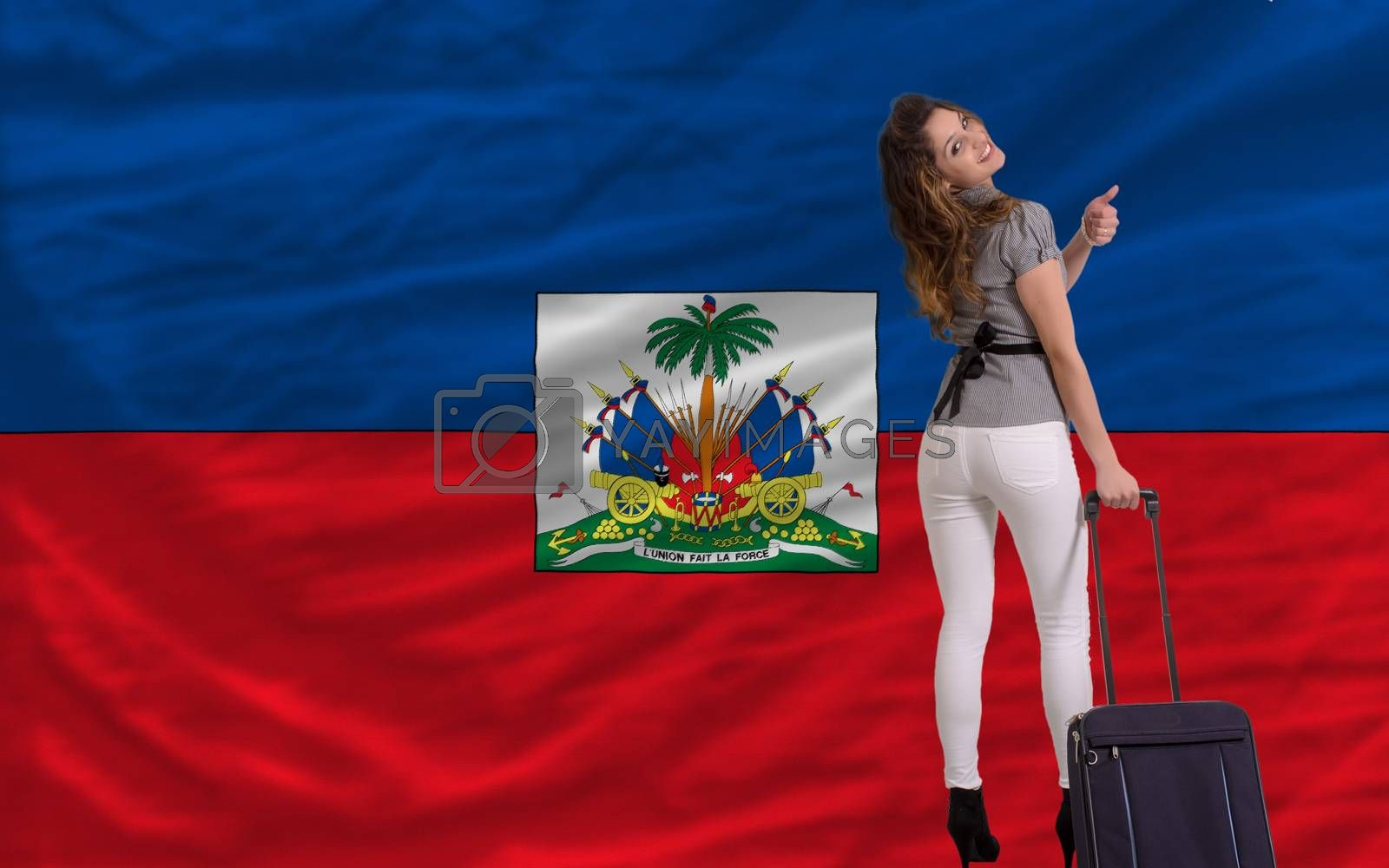 young beautiful woman is traveling to haiti