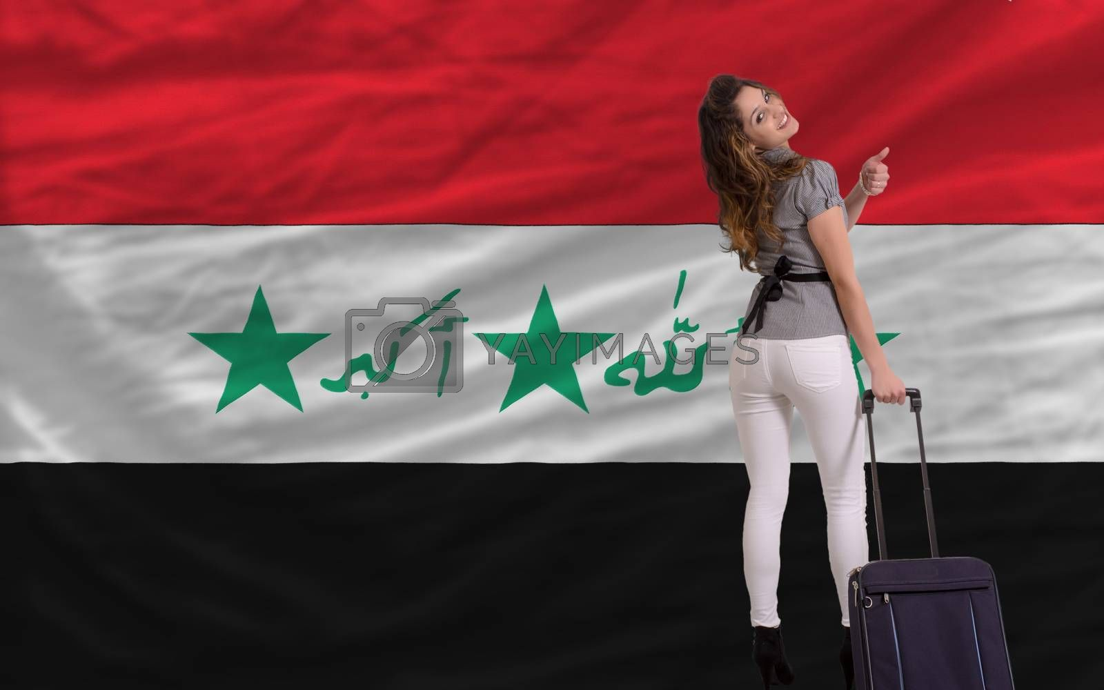 young beautiful woman is traveling to iraq