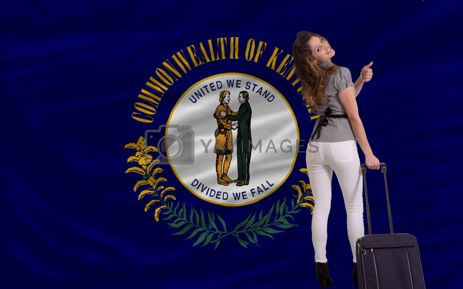 young beautiful woman is traveling to kentucky