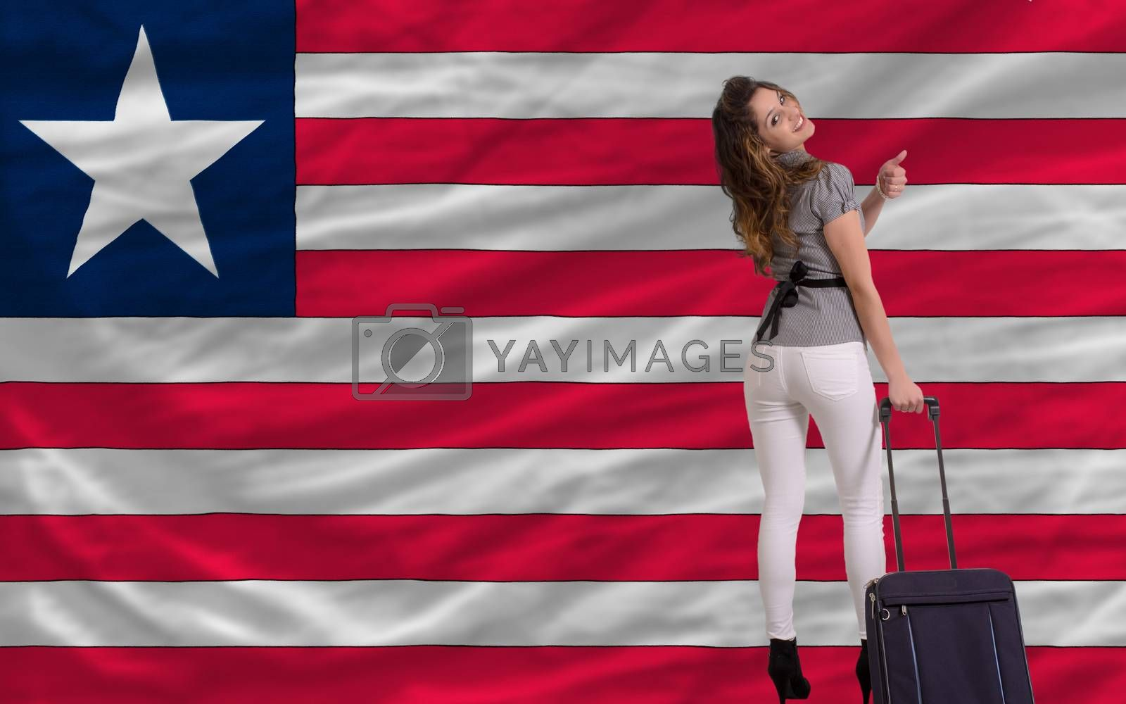 young beautiful woman is traveling to liberia