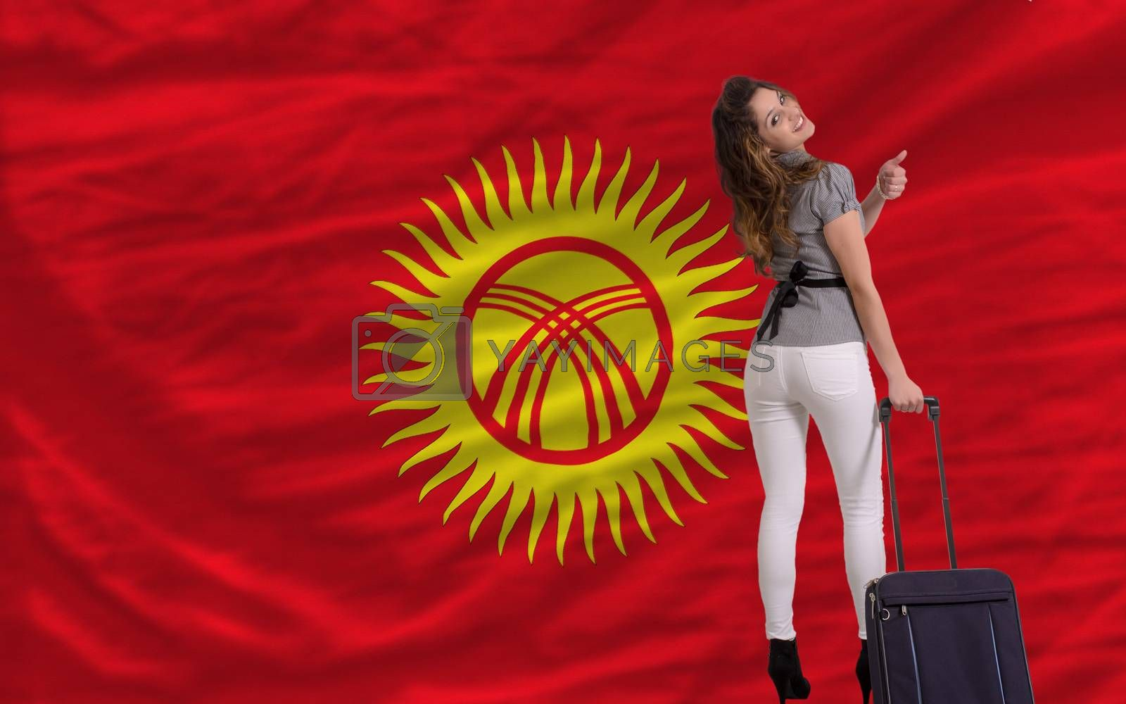 young beautiful woman is traveling to kirghizstan