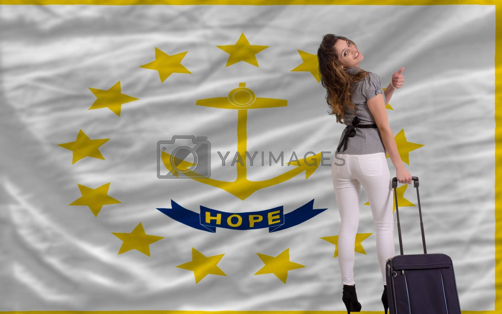 young beautiful woman is traveling to rhode island