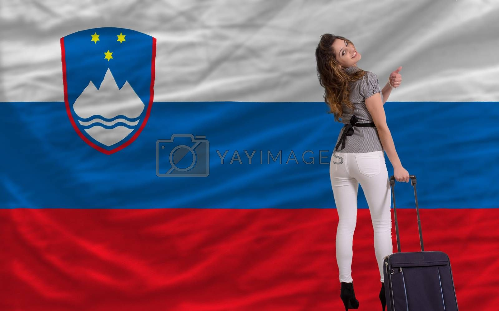 young beautiful woman is traveling to slovenia