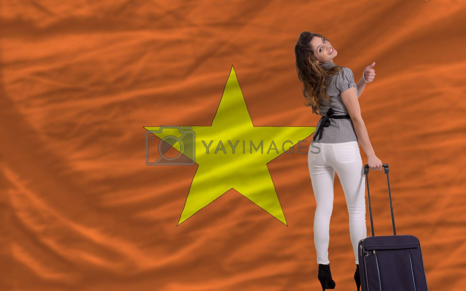 young beautiful woman is traveling to vietnam