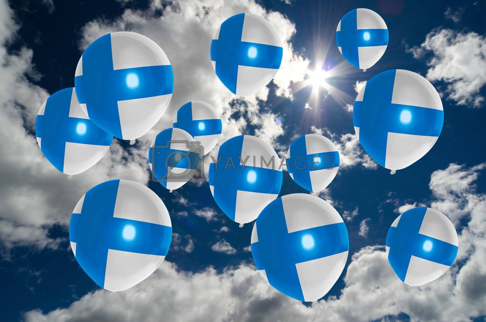 many ballons in colors of finland flag flying on sky