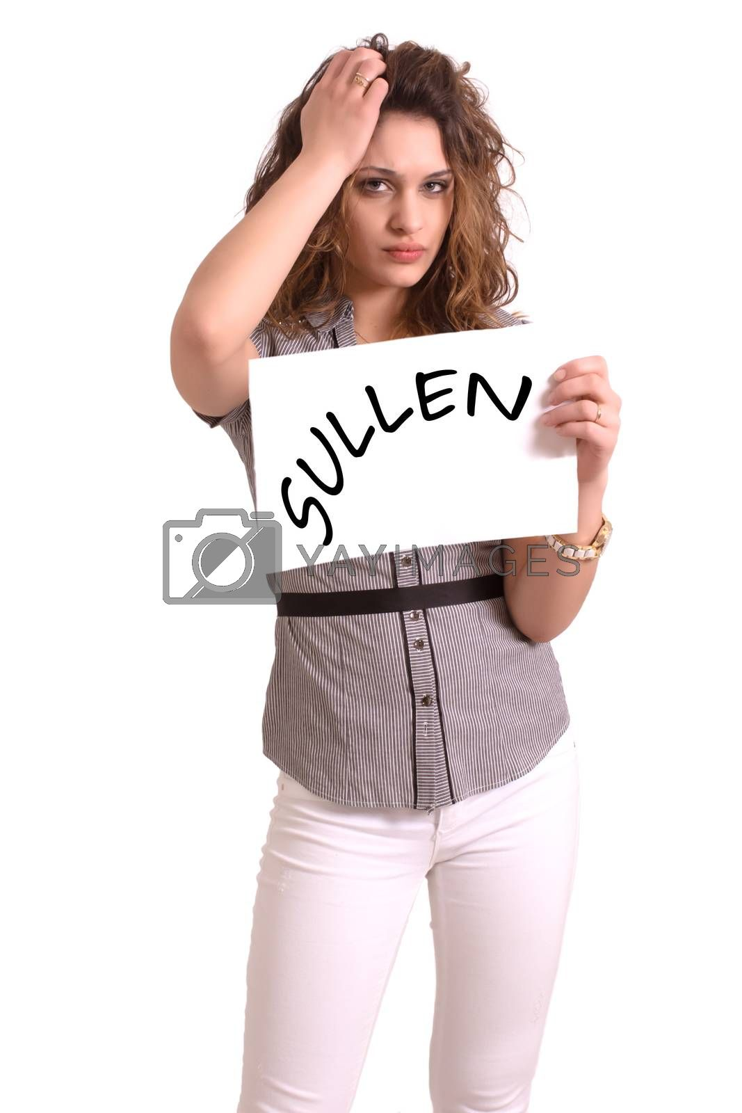 Young attractive woman holding paper with Sullen text on white background